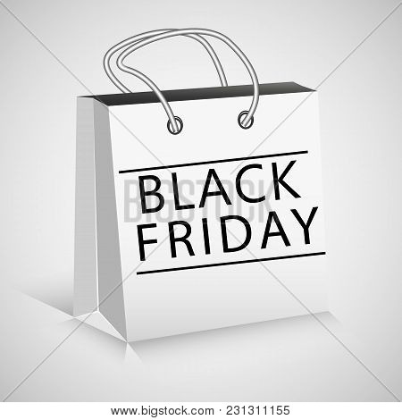 Black Friday White Package On Gradient Background