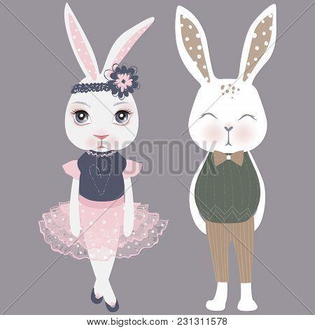 Vector Cute Couple Bunnies. Girl And Boy. Happy Easter Illustration. Cartoon Rabbit. Funny Fashion A