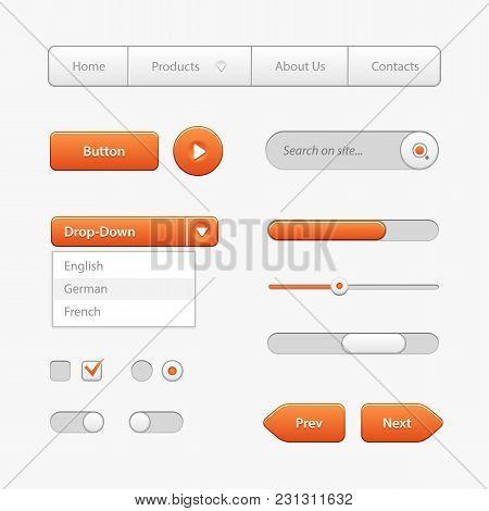 Orange Light User Interface Controls. Web Elements. Website, Software Ui: Navigation Bar, Input Sear