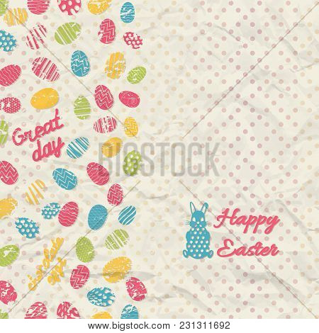 Creased Paper Polka Dot Happy Easter Background With Multicolored Eggs And Small Rabbit Flat Vector