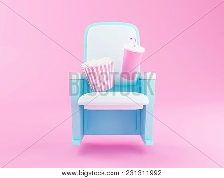 3d Illustration. Popcorn And Drink On Theater Seat. Cinematography Concept.