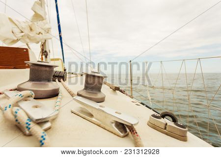 Yacht Capstan With Rope On Sailing Boat During Cruise, Marine Objects Concept.
