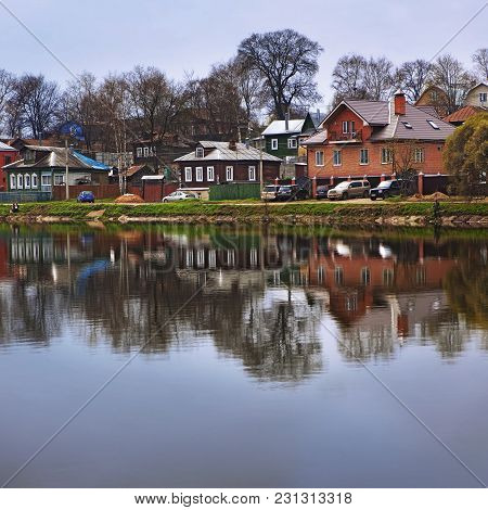 Sergiev Posad, Moscow Region,  Russia - September 30: Golden Autumn, Small Cottage Near River,  On S