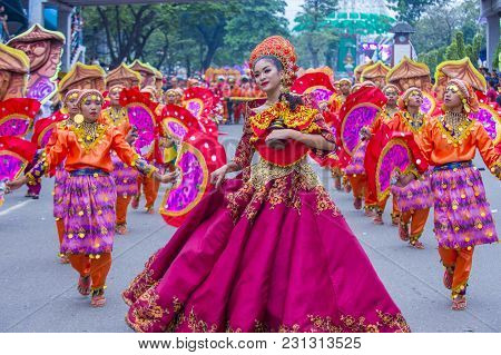 Cebu City , Philippines - Jan 21 : Participants In The Sinulog Festival In Cebu City Philippines On