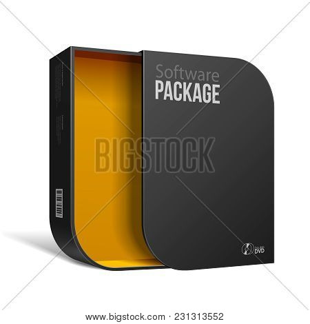 Opened Modern Black Software Package Box With Rounded Corners Yellow Orange Inside. With Dvd Or Cd D