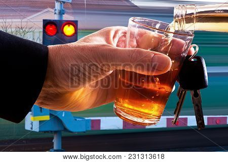 Hard Drinker With Glass Of Spirits And Car Key