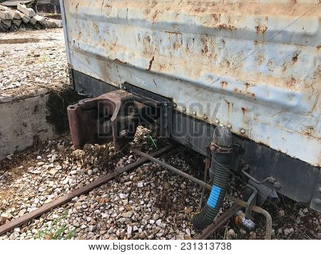 Old Abandoned Rail Freight Train At Thailand