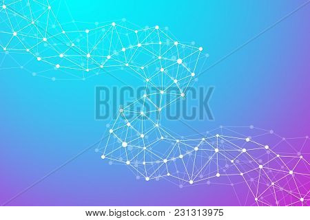 Modern Structure Molecule Dna. Atom. Molecule And Communication Background For Medicine, Science, Te