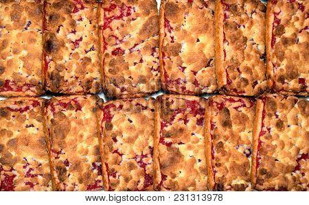 Sweet Square Cookies With Cherry Jam, Dessert