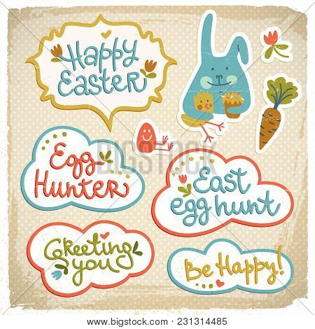Happy Easter Cutout Doodle Decorative Elements On Fabric Background With Funny Bunny And Be Happy Gr