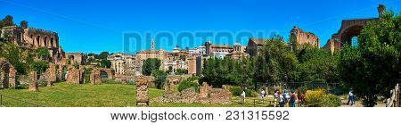 Roman Forum, Rome, Italy - May 17, 2017: Panoramic View Of The Roman Forum With The Tabularium, The