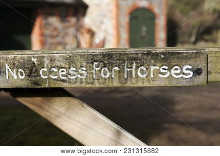 Wooden Sign No Access For Horses In English Village