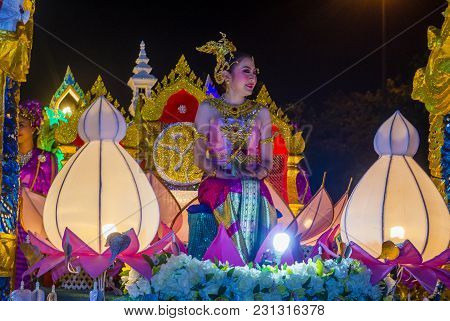 Chiang Mai , Thailand - Nov 04 : Participant In A Parade During Yee Peng Festival In Chiang Mai , Th