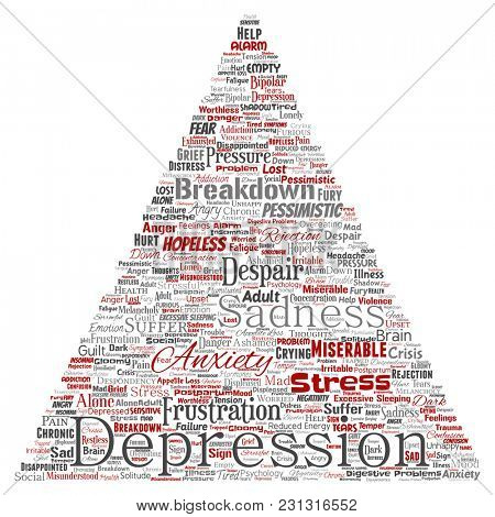 Conceptual depression or mental emotional disorder problem triangle arrow word cloud isolated background. Collage of anxiety sadness, negative sad, despair, unhappy, frustration symptom
