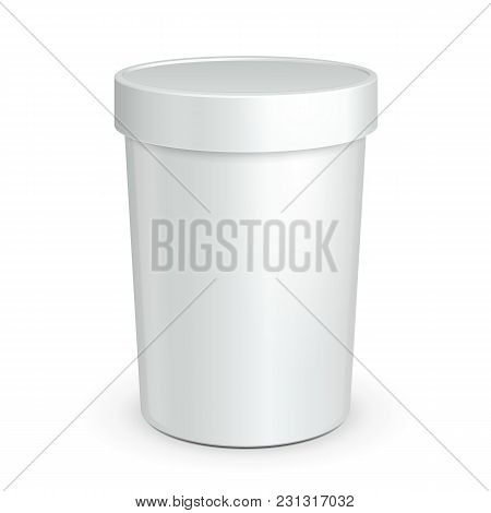 White Mock Up Bucket Tub Food Plastic Container For Dessert, Yogurt, Ice Cream, Sour Cream Or Snack.
