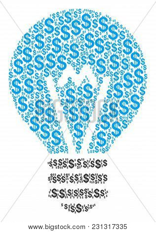 Electric Bulb Composition Of American Dollars. Vector Dollar Pictograms Are Composed Into Electric B