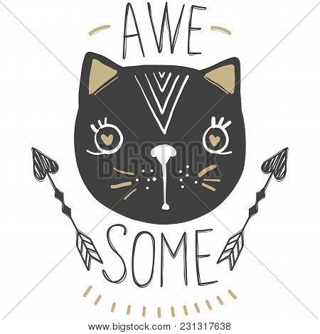Cat Vector. Cartoon Doodle Character. Love, Hearts, Arrows.
