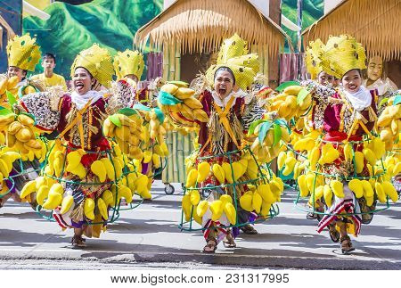 Iloilo , Philippines - Jan 28 : Participants In The Dinagyang Festival In Iloilo Philippines On Janu