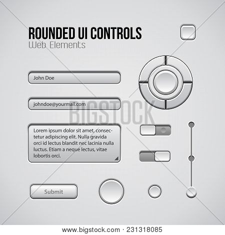Light Ui Controls Web Design Software Elements: Buttons, Switchers, Audio, Volume, Knob. Vector User
