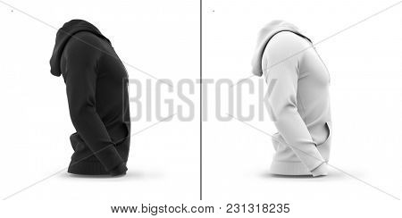 Men's hooded zip-up hoodie. Sweatshirt with pockets. Side view. 3d rendering. Clipping paths included: whole object, hood, sleeve, ripe tie, zipper. Highlights and shadows template mock-up.