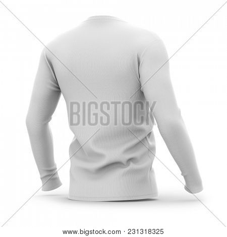 Men's v-neck t shirt with long sleeves. Half-back view. 3d rendering. Clipping paths included: whole object, collar, sleeve.