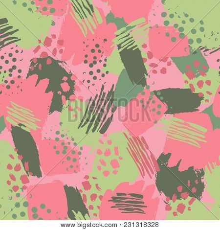 Vector Colorful Seamless Pattern With Brush Strokes And Dots. Pink Green Color On Pinky Background.