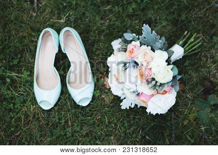 Bridesmaids Legs. Bride With Her Girlfriends In Coloured Beautiful Dresses In Wedding Party