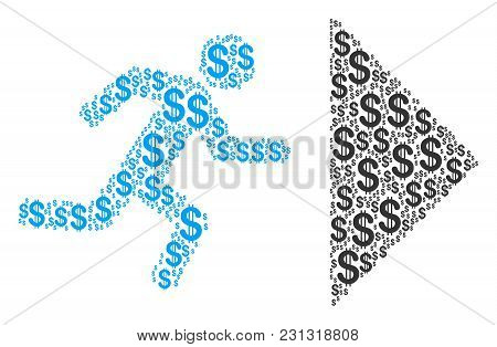 Exit Direction Collage Of Dollars. Vector Dollar Icons Are Combined Into Exit Direction Collage.