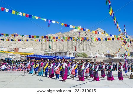 Leh, India - September 20, 2017: Unidentified Ladakhi People With Traditional Costumes  Participates
