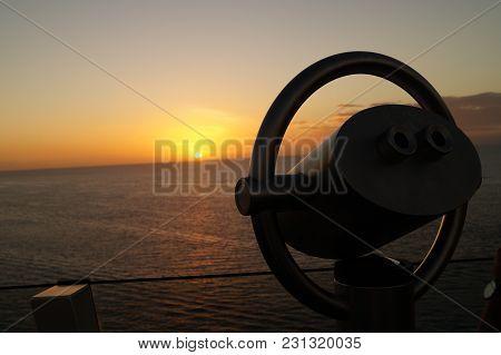 Binocular Of A Cruise Ship In The Back  The Caribbean Sea