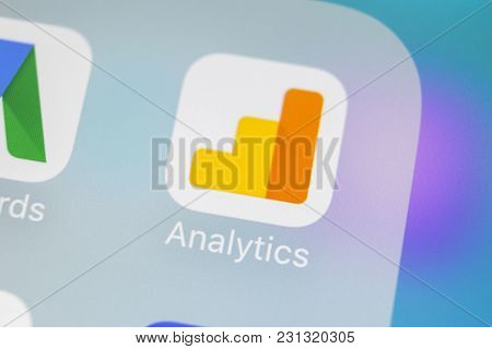 Sankt-petersburg, Russia, March 15, 2018: Google Analytics Application Icon On Apple Iphone X Screen
