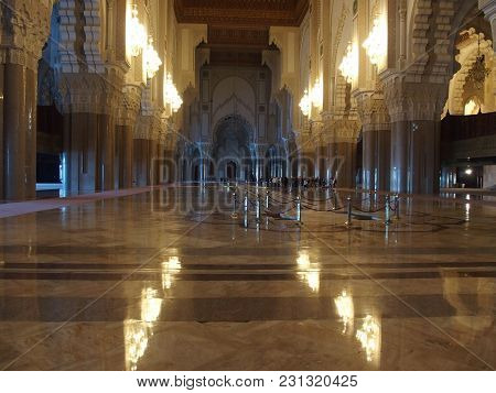 Casablanca, Morocco, Africa On February 2016: Interior Of Grande Mosquee Hassan Ii, Lights Reflectio