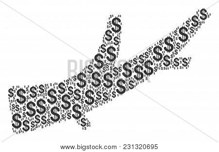 Firewood Mosaic Of Dollars. Vector Dollar Symbols Are Grouped Into Firewood Illustration.