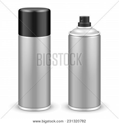 Two Gray Aerosol Spray Metal 3d Bottle Can: Paint, Graffiti, Deodorant Eps10