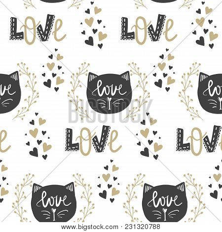 Vector Cute Seamless Pattern. Doodle Illustration In Sketch Style. Cartoon Background. Love, Hearts,