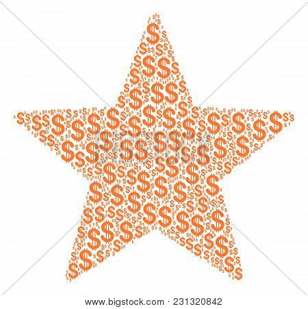 Fireworks Star Collage Of Dollars. Vector Dollar Currency Symbols Are United Into Fireworks Star Col