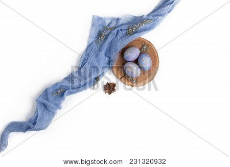 Easter Arrangement With Eggs And Textile.