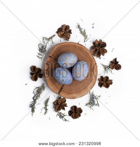 Creative Easter Flat Lay Arrangement With Eggs.