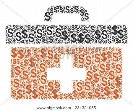 First Aid Toolbox Collage Of Dollars. Vector Dollar Pictograms Are Grouped Into First Aid Toolbox Il