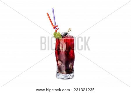 Blackberry Cold Lemonade With Mint, Ice And Straw. Isolated On White Background