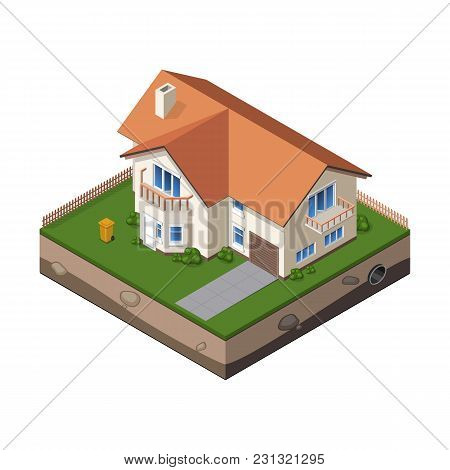 Cottage, Small Wooden House For Real Estate Brochures Or Web Icon. With Yard, Green Grass, Road, Mai