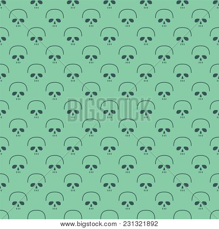 Skull In A Modern Line Style. Seamless Background With Skeleton Head. Vector Illustration.