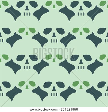 Vintage Vector Background With Skulls. Seamless Pattern.