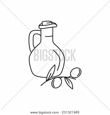 Olive Oil Icon. Outline Olive Oil Vector Icon For Web Design Isolated On White Background