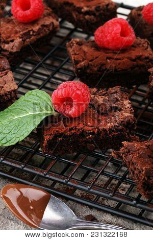 Homemade Chocolate Brownies On Rustic Table. Brownie Bakery.