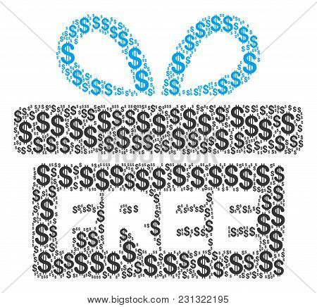 Free Gift Mosaic Of Dollars. Vector Dollar Symbols Are Composed Into Free Gift Illustration.
