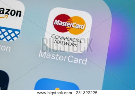 Sankt-petersburg, Russia, March 15, 2018: Mastercard Application Icon On Apple Iphone X Screen Close