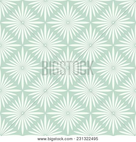 Vector Flourish Background. Turquoise Seamless Pattern With Flowers.