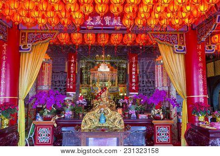 Taipei , Taiwan - Dec 08 : The Interior Of Chih Nan Temple In Taipei Taiwan On December 08 2017. Chi