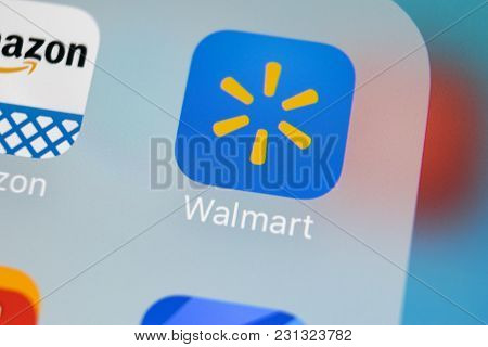 Sankt-petersburg, Russia, March 15, 2018: Walmart Application Icon On Apple Iphone X Screen Close-up